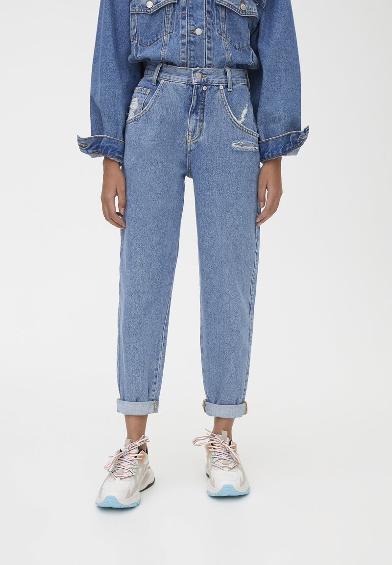 PULL&BEAR - SLOUCHY - Jeansy Straight Leg - blue