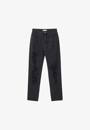 MIT RISSEN AN DEN BEINEN  - Slim fit jeans - black denim