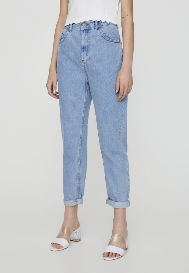 MOM WITH ELASTIC WAISTBAND - Straight leg -farkut - blue denim