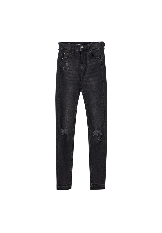 PULL&BEAR PUSH-UP-JEANS MIT RISSEN 05682318 - Jeansy Skinny Fit - dark blue