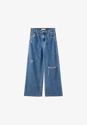 MIT ZIERRISSEN - Flared Jeans - dark blue