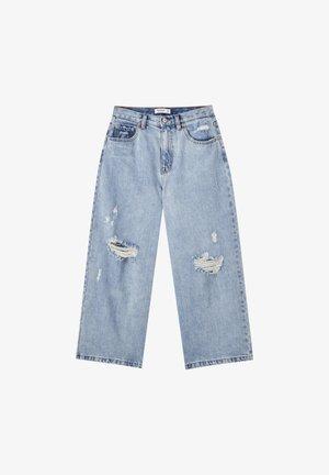 MIT ZIERRISSEN  - Jeansy Straight Leg - light blue