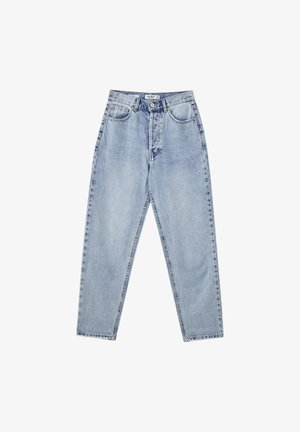 MIT SEHR HOHEM BUND - Jeansy Straight Leg - mottled light blue
