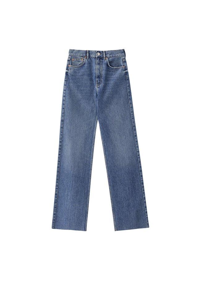 MIT HOHEM BUND - Jeansy Straight Leg - blue