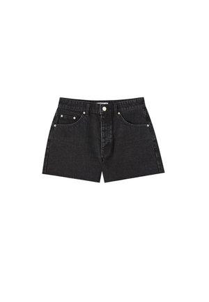 MIT HOHEM BUND - Jeans Shorts - black