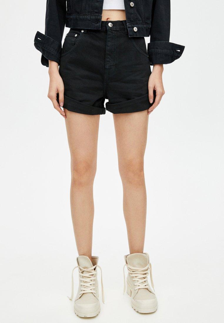 PULL&BEAR - Jeansshort - black