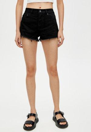MIT HALBHOHEM BUND - Jeans Short / cowboy shorts - black