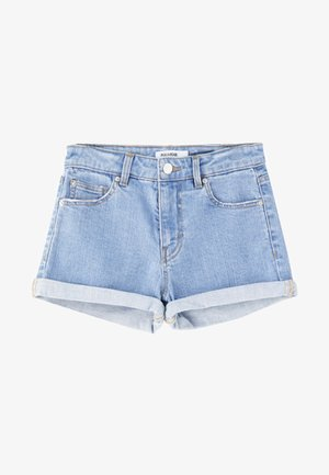 MIT HALBHOHEM BUND IM USED-LOOK - Szorty jeansowe - light-blue denim