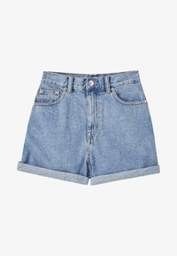 PULL&BEAR - FIT MIT UMGESCHLAGENEM SAUM  - Denim shorts - mottled dark blue - 6