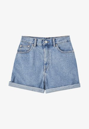 FIT MIT UMGESCHLAGENEM SAUM  - Denim shorts - mottled dark blue