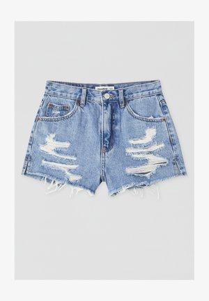 MIT WEITEN ZIERRISSEN - Short en jean - dark blue