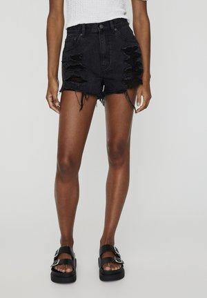 MIT WEITEN ZIERRISSEN - Szorty jeansowe - black
