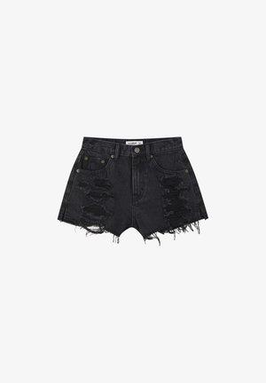 MIT WEITEN ZIERRISSEN - Short en jean - black