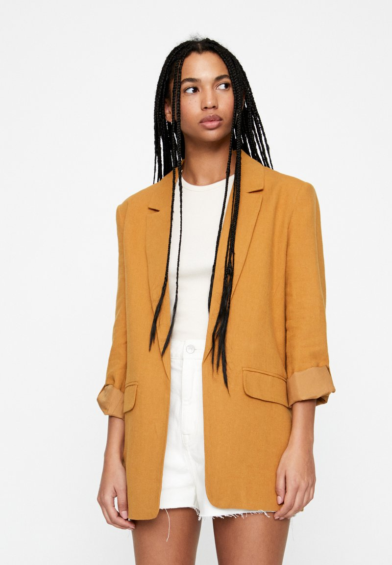 PULL&BEAR - Manteau court - brown