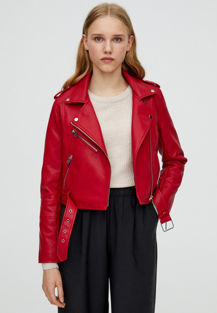 PULL&BEAR - Faux leather jacket - bordeaux