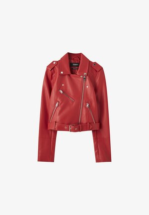 Faux leather jacket - metallic red