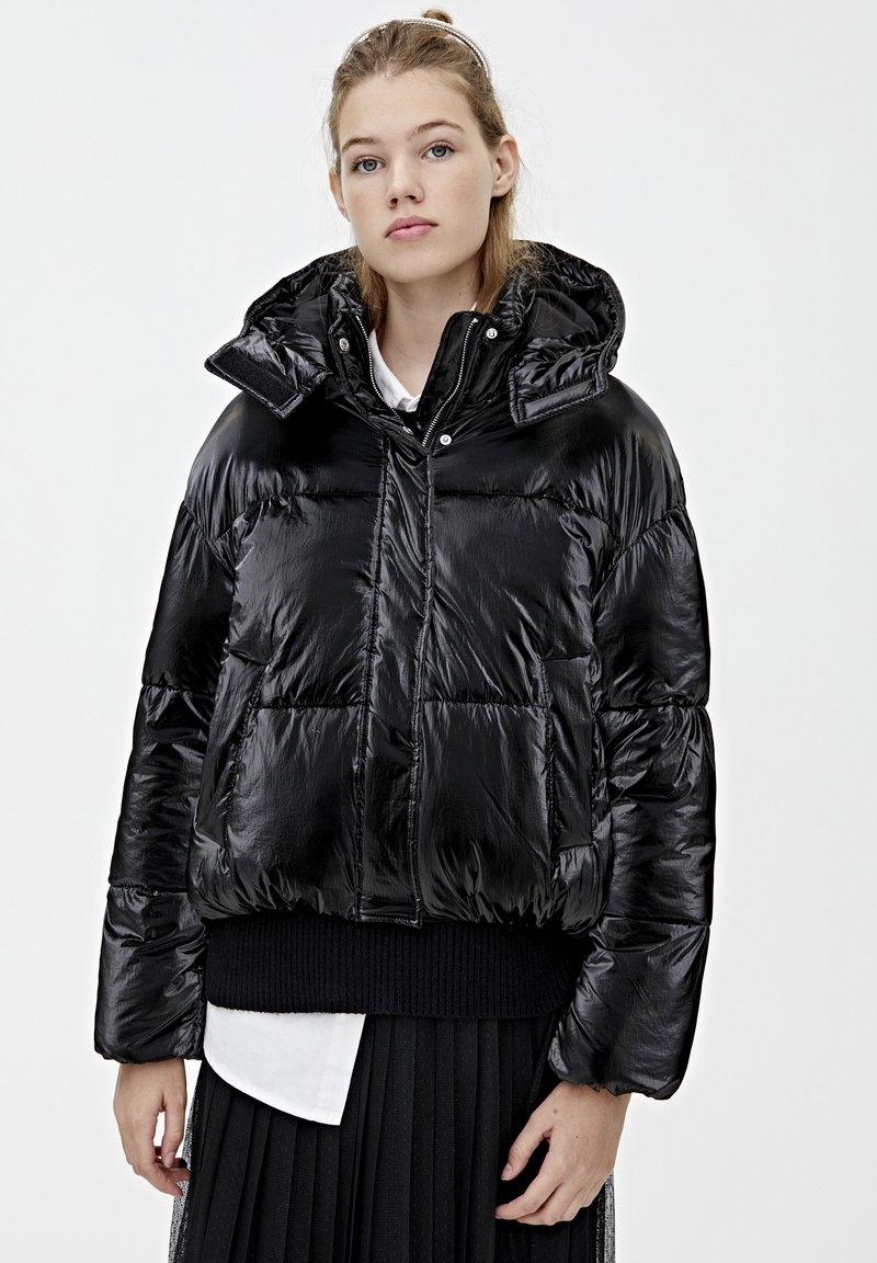 PULL&BEAR - MIT GLITZER - Zimní bunda - black