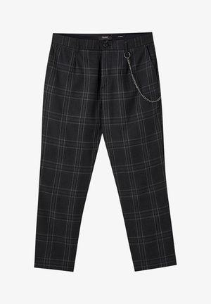 DUNKELGRAUE KARIERTE HOSE, ENG GESCHNITTEN 05670526 - Trousers - black