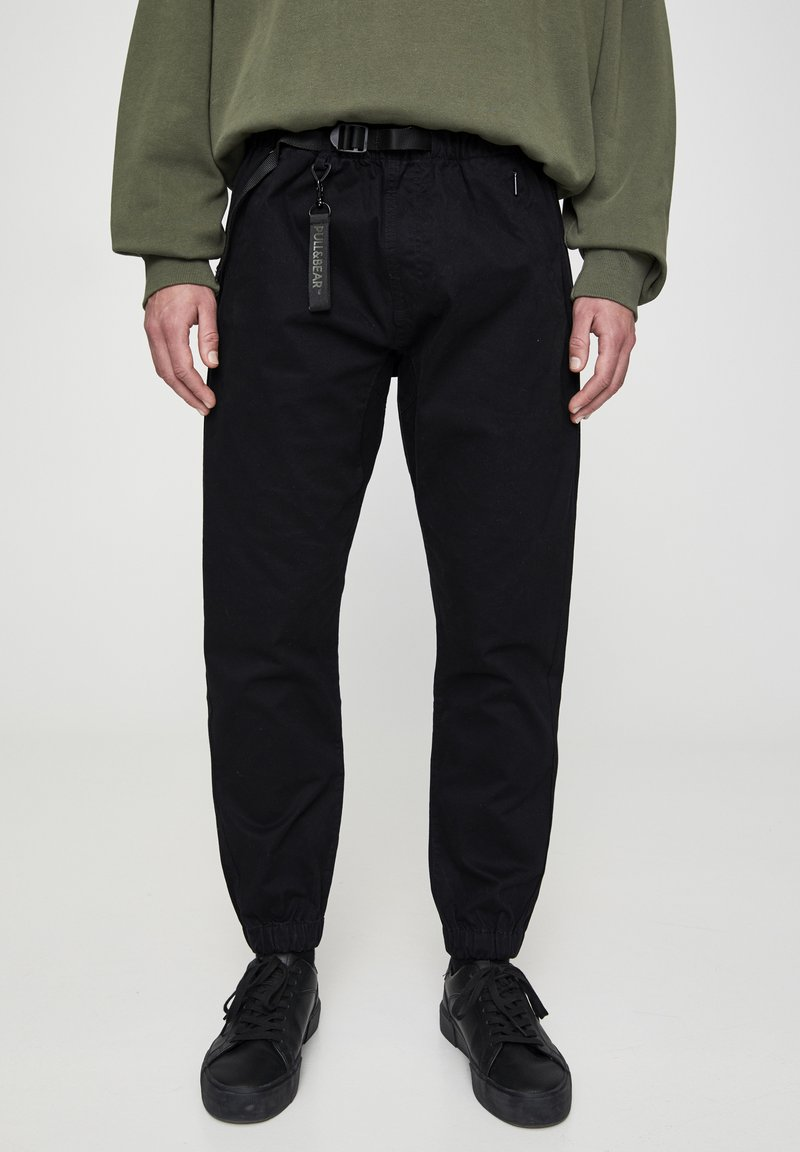 PULL&BEAR - Trousers - metallic black