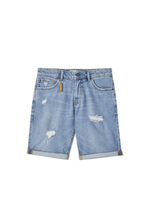 MIT ZIERRISSEN - Shorts di jeans - blue