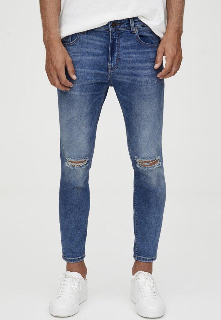 PULL&BEAR - MIT ZIERRISSEN - Jeans Skinny Fit - dark blue