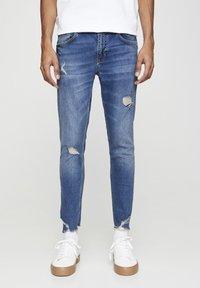 PULL&BEAR - Skinny džíny - mottled dark blue - 0