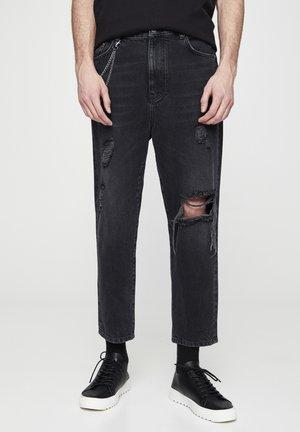 MIT ZIERRISSEN  - Relaxed fit jeans - mottled dark grey