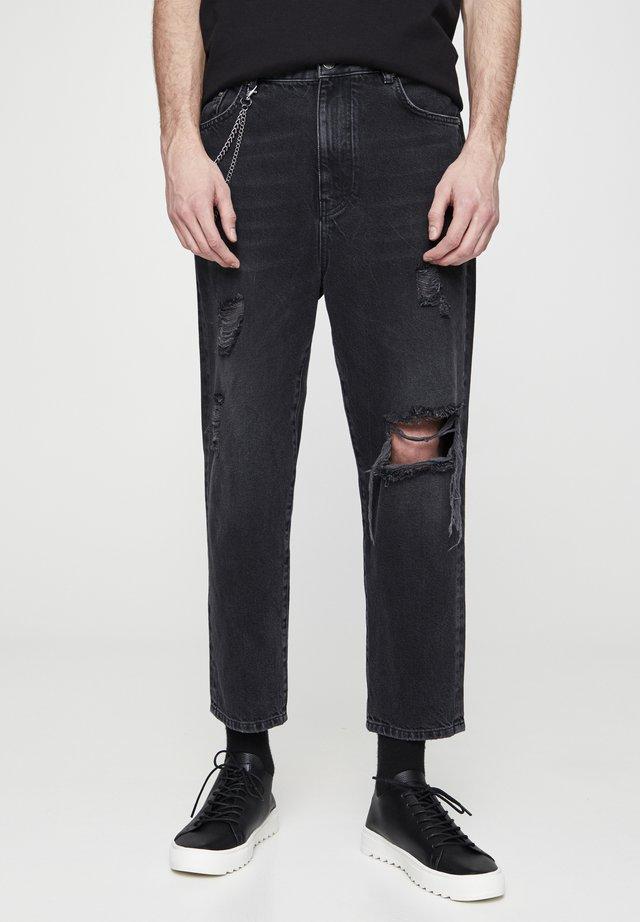 MIT ZIERRISSEN  - Jeans baggy - mottled dark grey