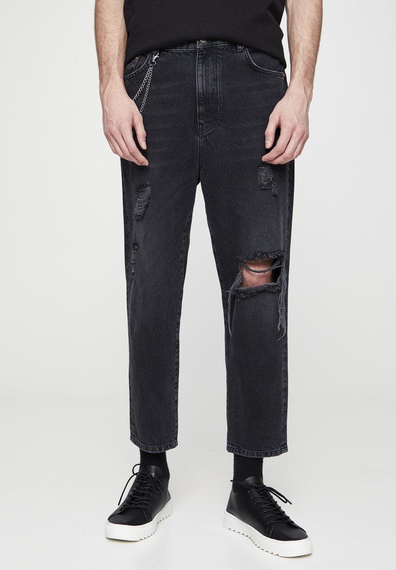 PULL&BEAR - MIT ZIERRISSEN  - Relaxed fit jeans - mottled dark grey