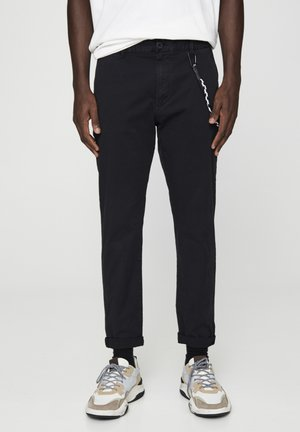 SLIM-FIT - Chino - mottled black