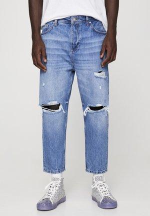 MIT ZIERRISSEN UND GÜRTELSCHLAUFEN - Straight leg jeans - dark blue