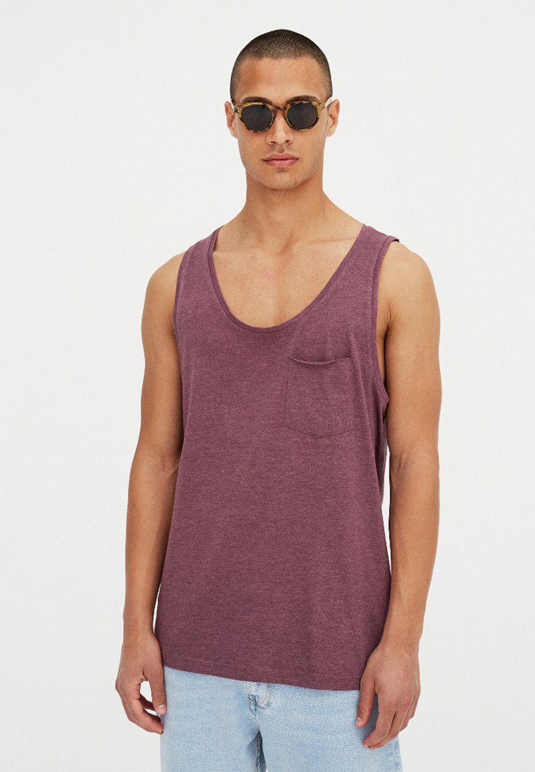 PULL&BEAR - Top - bordeaux
