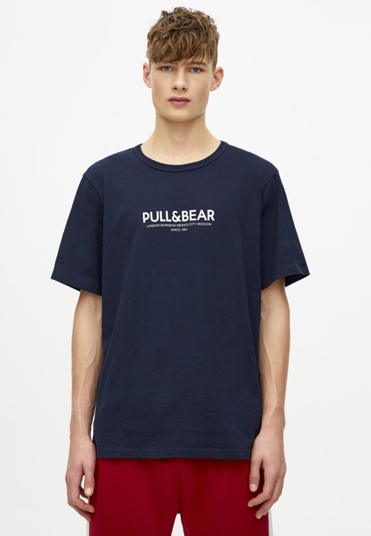 PULL&BEAR - Print T-shirt - dark blue