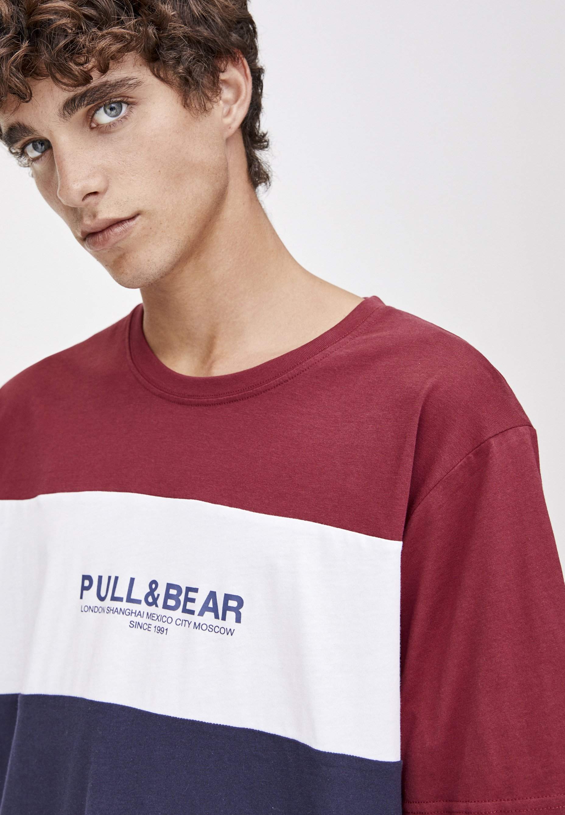 Stampa amp;bear shirt Con T Pull Bordeaux kPuZXiTO