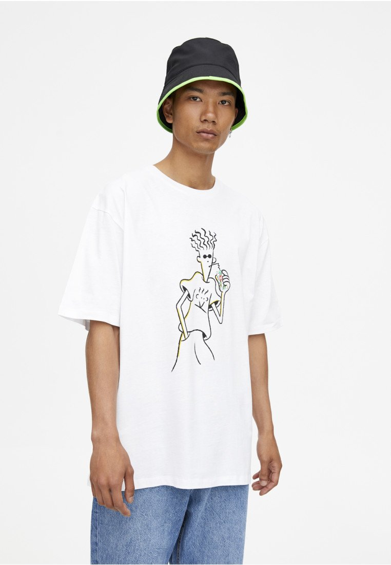 Pull Fido amp;bear Dido 7upT Imprimé shirt White 5jAq34RL