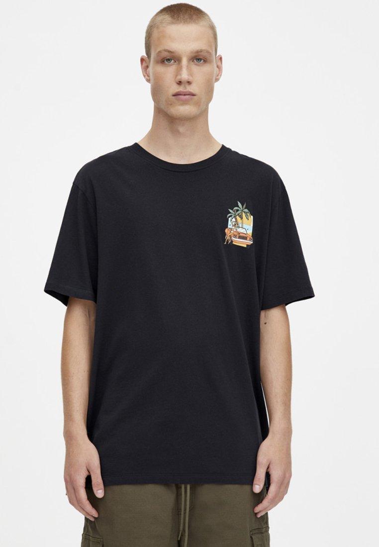 "PULL&BEAR - MIT PRINT ""PALM RIVER - T-shirts print - black"