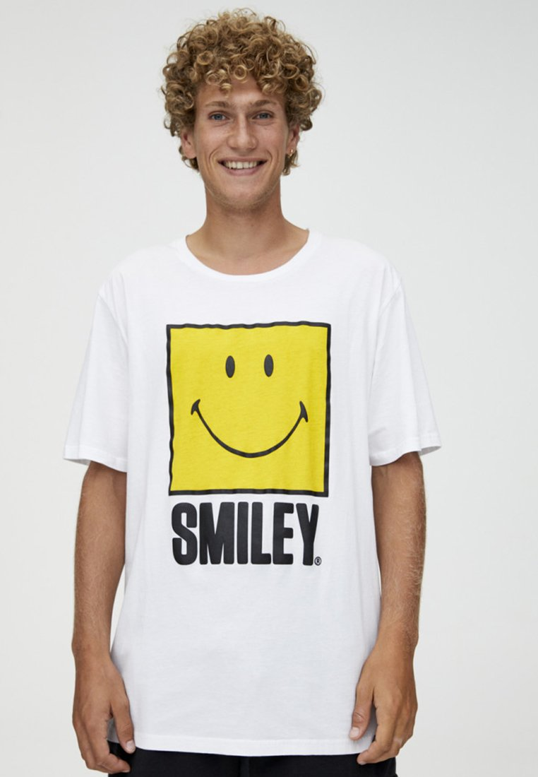 amp;bear Imprimé Smiley Mit motivT shirt White Pull hQtrds