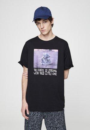 YODA - T-shirt print - mottled black