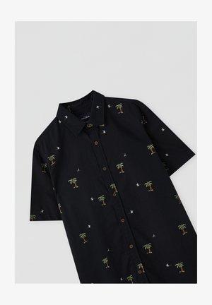 BLAUES HEMD MIT PALMENPRINT - Poloshirt - black