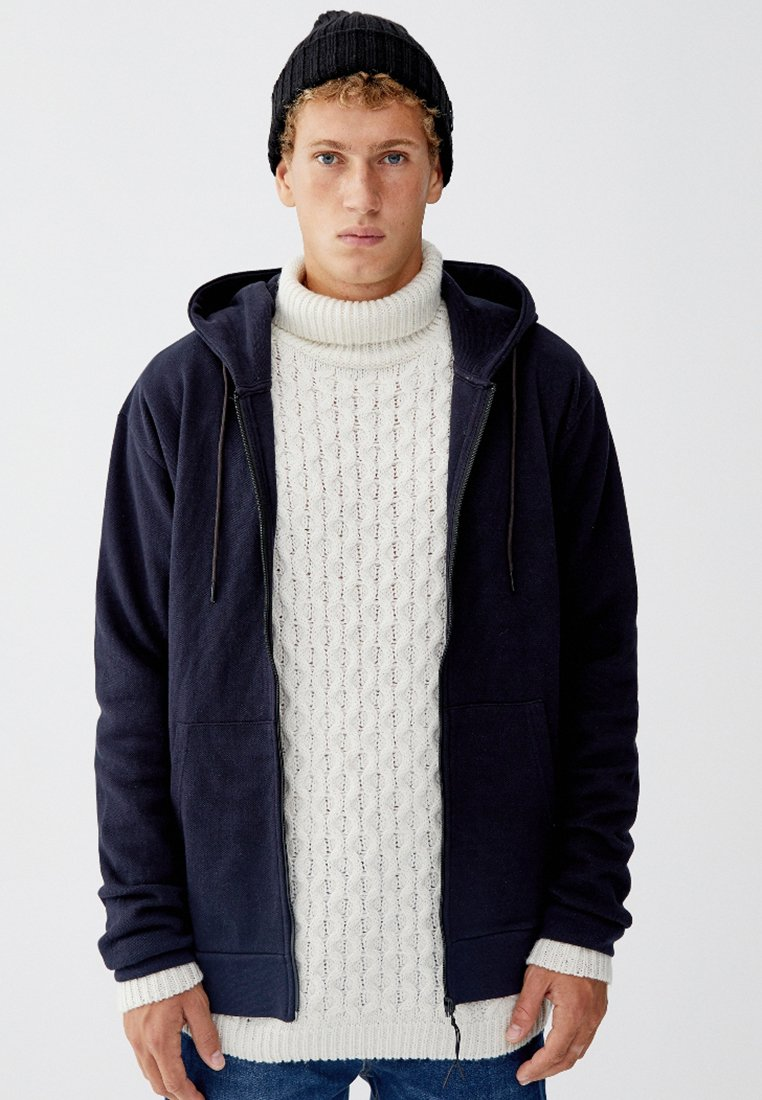 PULL&BEAR - MIT KAPUZE - veste en sweat zippée - dark blue