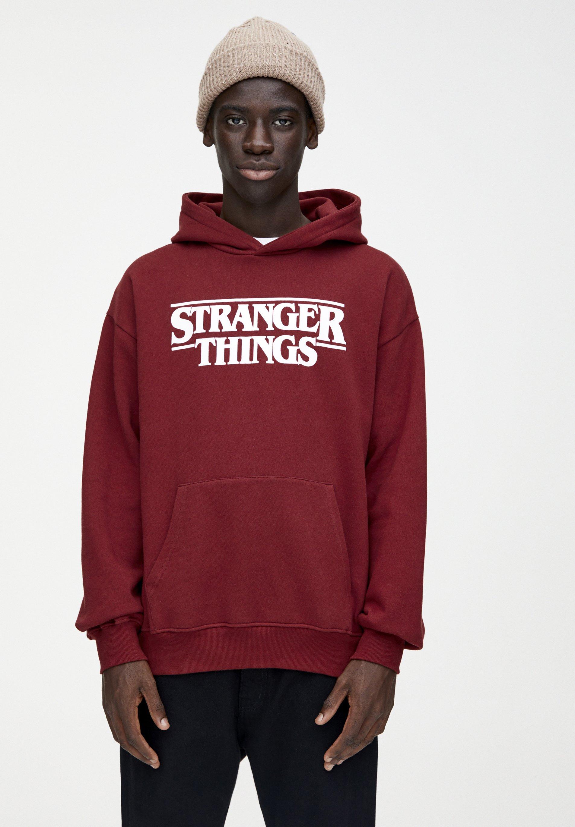 PULL&BEAR STRANGER THINGS - Bluza z kapturem - bordeaux