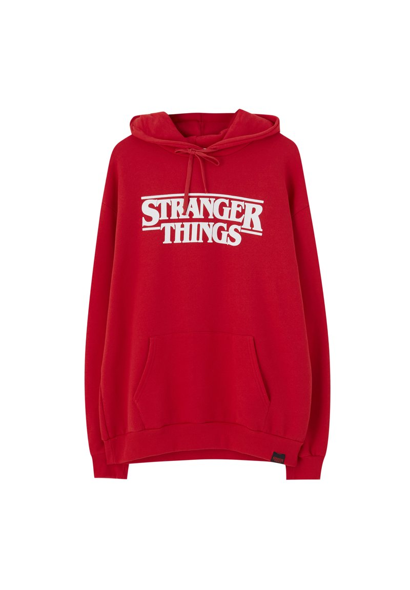 PULL&BEAR - SWEATSHIRT STRANGER THINGS 3 IN ROT 05596918 - Mikina s kapucí - red
