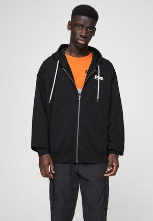 SWEATSHIRT MIT KONTRASTFARBENEM MOTIV 05597501 - Zip-up hoodie - mottled black