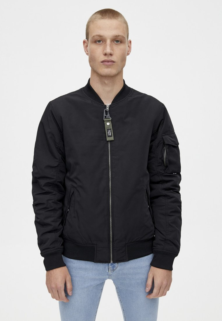 PULL&BEAR - BASIC - Giubbotto Bomber - black