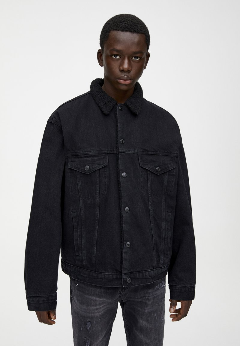 PULL&BEAR - Džínová bunda - black