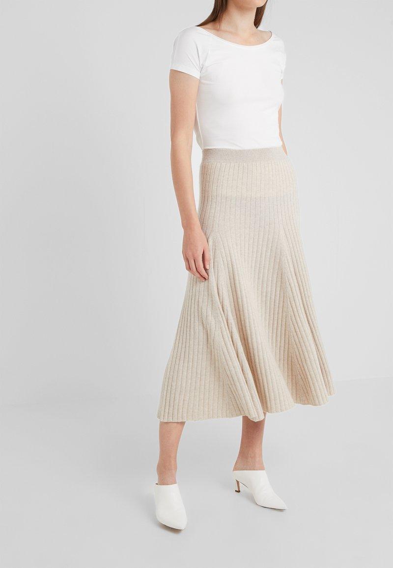 pure cashmere - FLARED SKIRT - A-line skirt - oatmeal