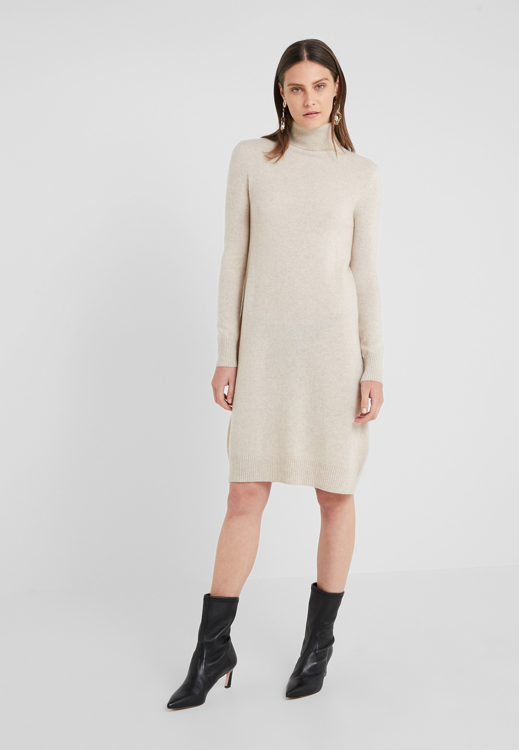 Pure Neck Cashmere Turtle DressRobe Oatmeal Pull tsrdChQ