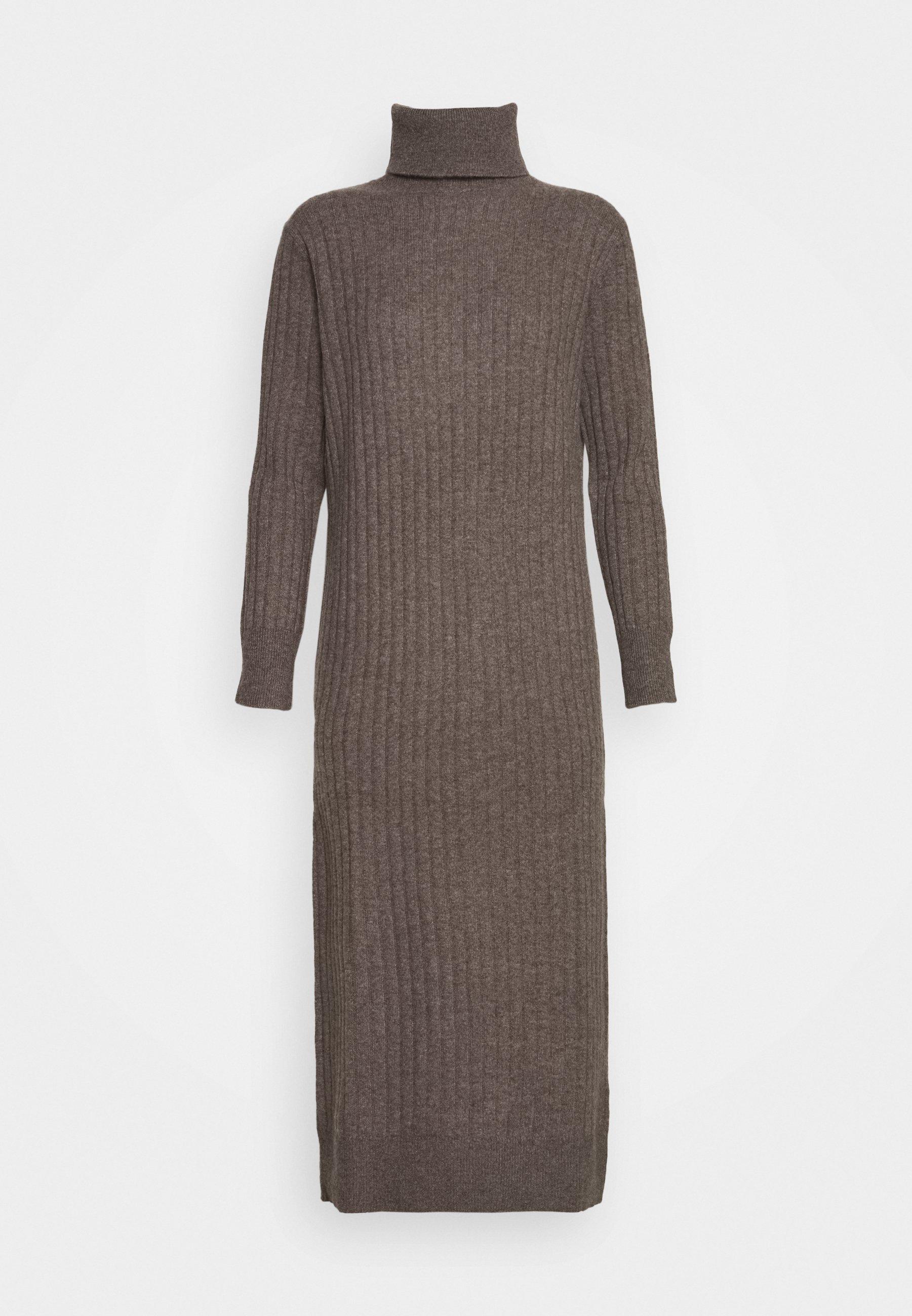 pure cashmere TURTLENECK DRESS Gebreide jurk heathered