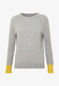 pure cashmere - CLASSIC CREW NECK COLOR BLOCK - Jumper - light grey/yellow - 3