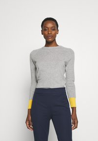 pure cashmere - CLASSIC CREW NECK COLOR BLOCK - Jumper - light grey/yellow - 0
